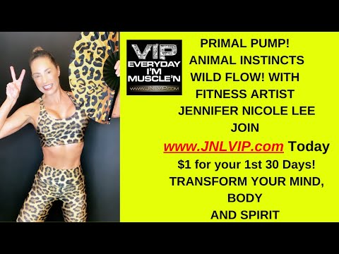 Primal pump!Donkey Kick with Jennifer Nicole Lee,Best Body Weight Cardio/Strength Moves! JNLVIP.com