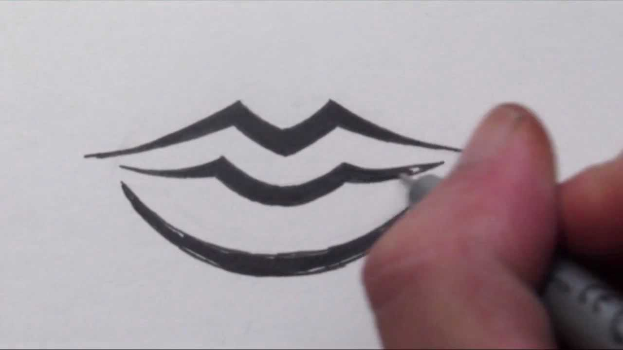 How To Draw Lips  Tribal Tattoo Design Style