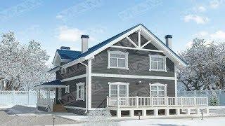 Проект дома 2 этажа 10 на 12. Деревянный дом в скандинавском стиле с мансардой крыльцом и террасой.