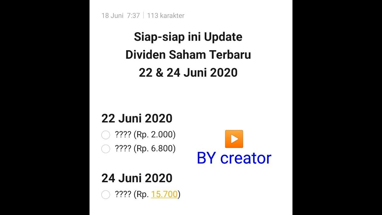 Saham Bagi Deviden 22 24 Juni 2020 Youtube
