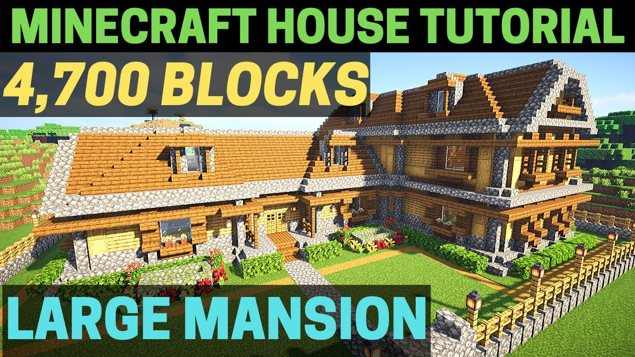 Minecraft How To Build A Huge Wooden Mansion Tutorial Youtube