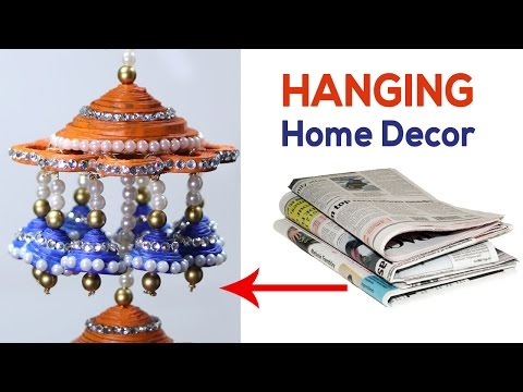 Diy wall hanging home decoration idea doovi for Wall hanging with waste material