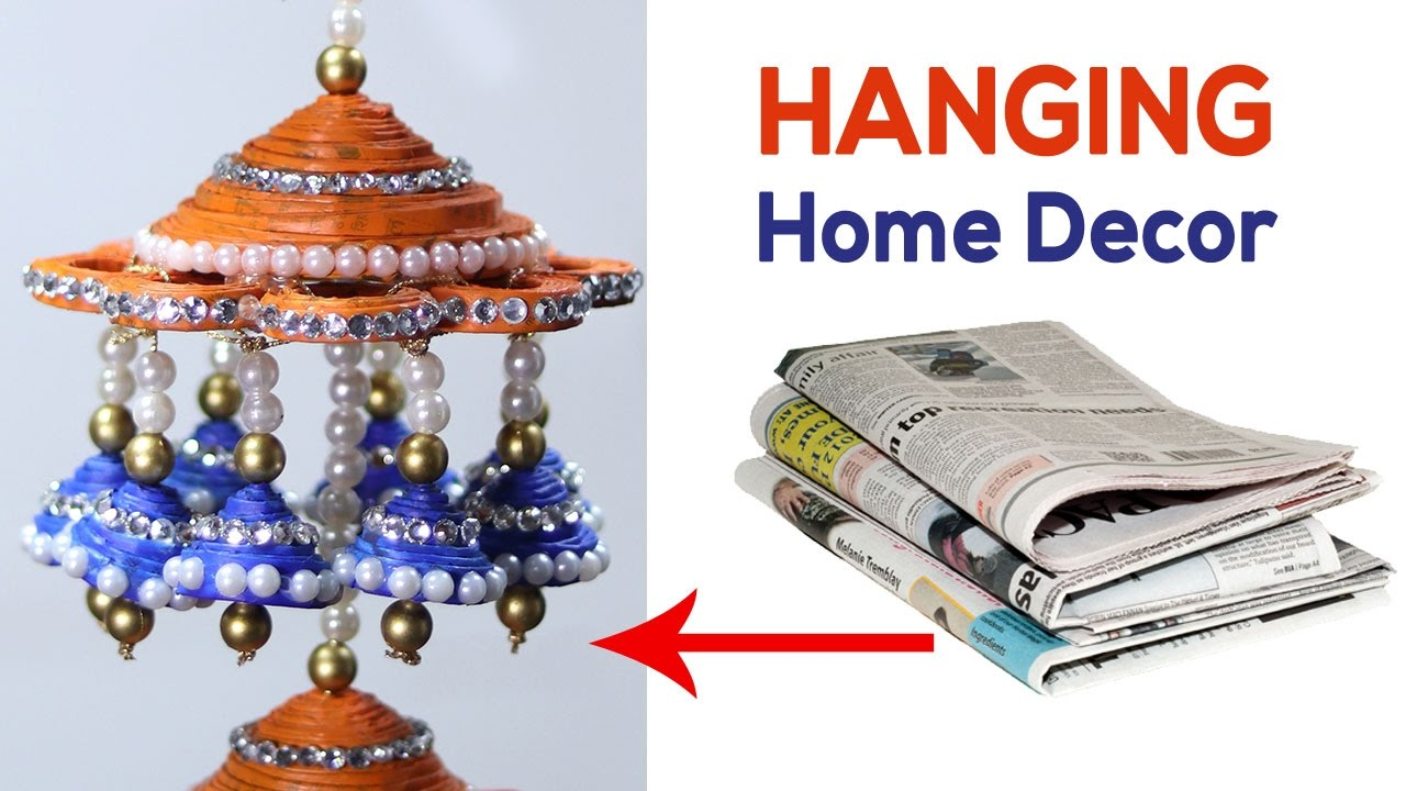 Newspaper wall hanging best out of waste material craft for Waste product craft