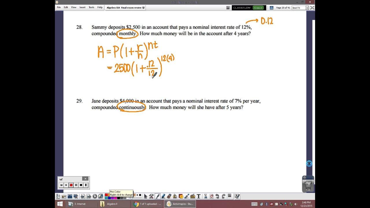 Algebra 2 final exam study guide answer key