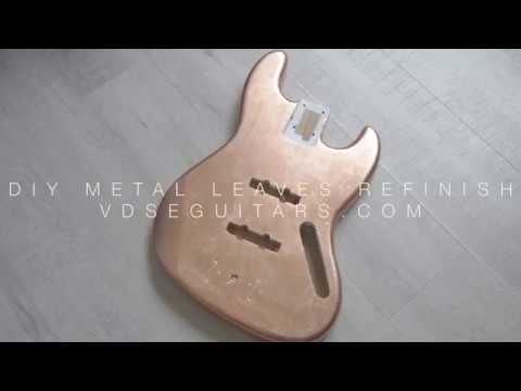 DIY Metal Leaf Refinish Rose Gold - Copper Jazz Bass