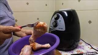 testando a fritadeira sem óleo