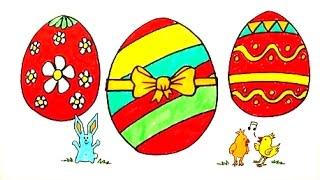 Drawing and Coloring Easter Eggs Bunny and Chicks - Coloring Page for Kids