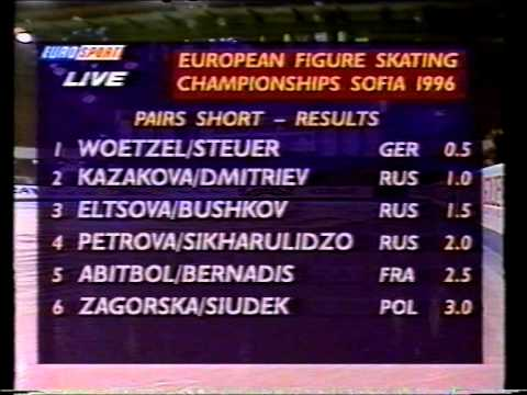 Standings, Pairs Event - 1996 European Championships SP