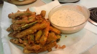 Beer-battered Zucchini Fries W/ Cilantro Ranch Dressing