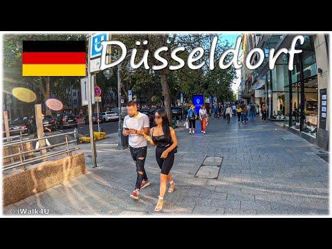 🇩🇪 Düsseldorf Crowded Walking Tour 🏙 4K Walk During Corona P