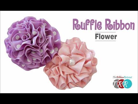 How to Make a Ruffle Ribbon Flower - TheRibbonRetreat.com