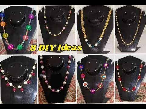 8 DIY Ideas Of beaded necklace | Making with ball chain and beads