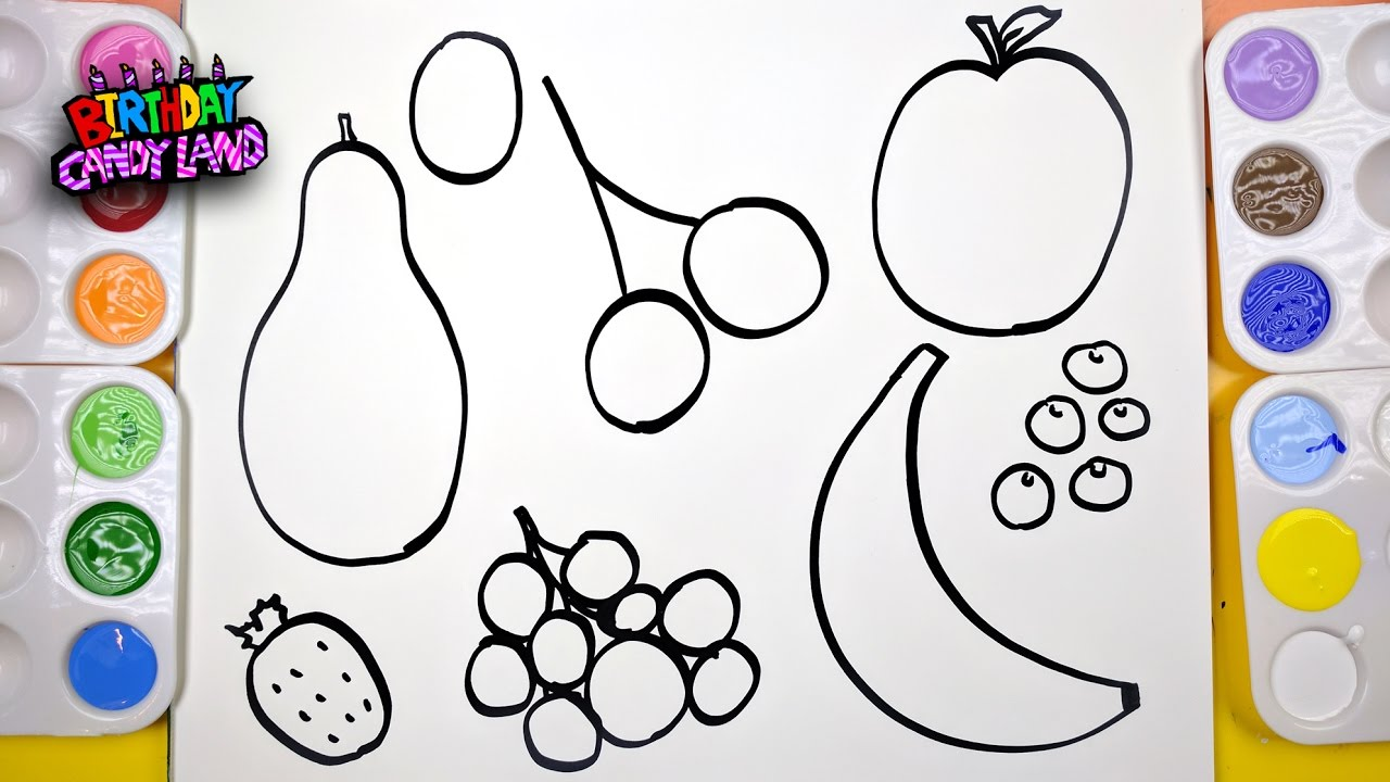 How to draw and paint fruit coloring page for kids to for Learning to paint and draw