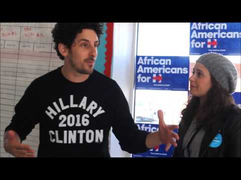 Katie Lowes and Adam Shapiro share their story with Clinton canvassers