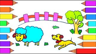 How to Draw and color a Farm Sheep Dog Tree and Fence I Learn Coloring Pages for kids with Markers