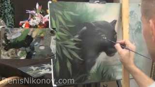 Как нарисовать пантеру. Пишем маслом большую кошку. Бесплатный урок