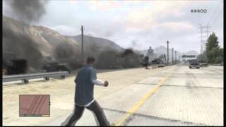 Grand Theft Auto V! Biggest car explosion chain reaction!