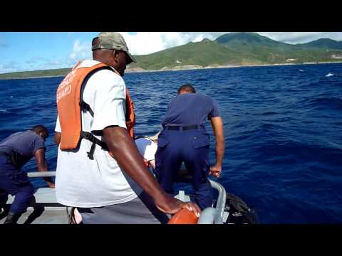 Pulling Up A Fish Pot South Of Nevis