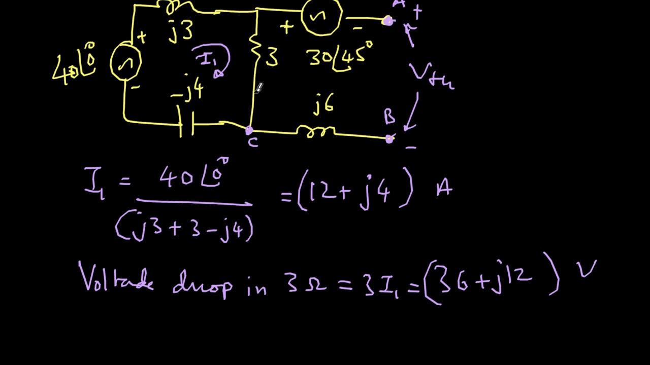 Ac Network Solution With Thevenins Theorem Youtube Thevenin Equivalent Circuit Current And Voltage Source