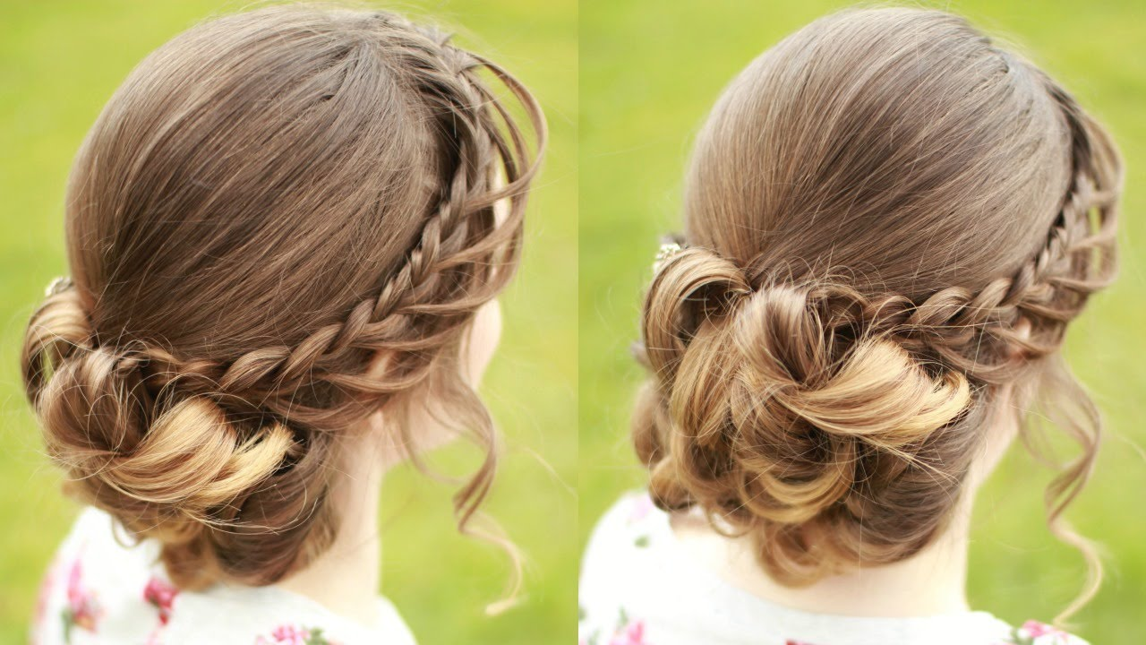 Diy Braided Updo With Curls Updo Hairstyles Braidsandstyles12