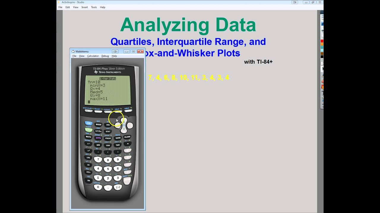 Data analysis quartiles interquartile range and box and data analysis quartiles interquartile range and box and whisker plots with ti 84 ccuart Choice Image