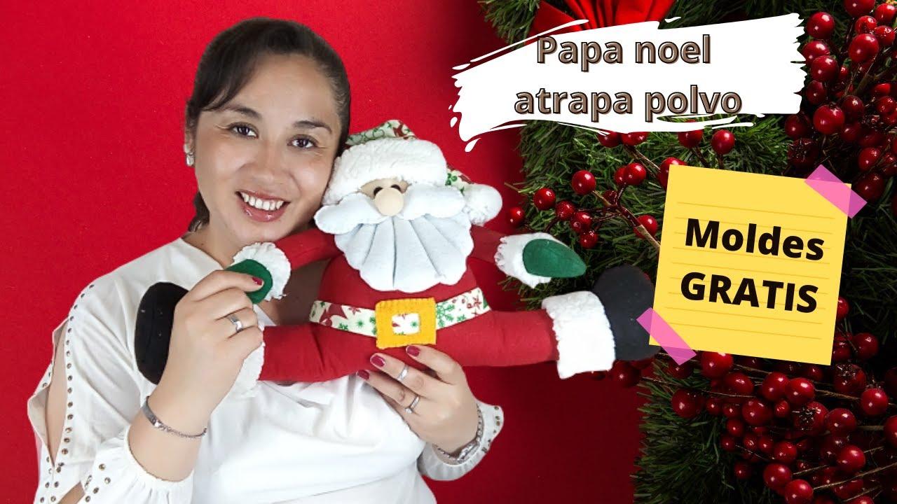 📌➡️Tutorial como hacer un papá Noel atrapa polvo paso a paso con MOLDES GRATIS
