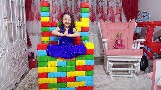 ÖYKÜYE RENKLİ BLOKLARDAN SANDALYE YAPTIK color block lego cute toy chair fun kid video