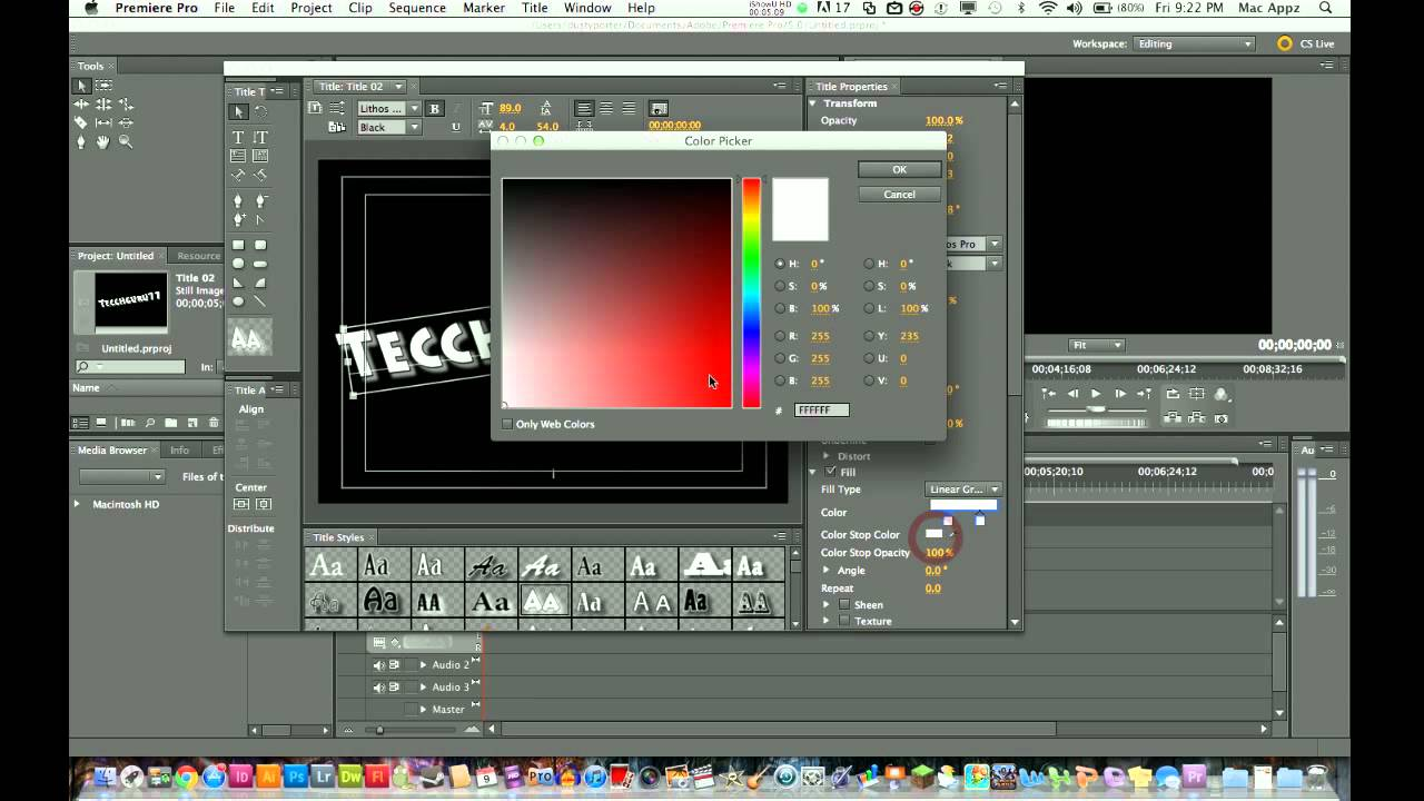 how to add text to premiere pro cs5