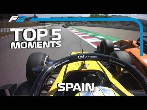 Top 5 Formula 2 Moments   2019 Spanish Grand Prix