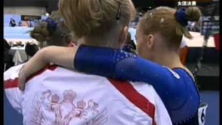 Aliya Mustafina 2010 Worlds TF FX and RUS Gold Medal Reactions (CCTV)