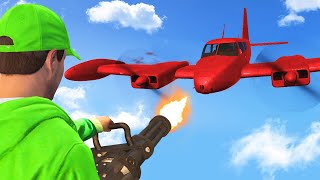 MINIGUN vs. PLANE TAKEDOWN CHALLENGE! (GTA 5 Funny Moments)