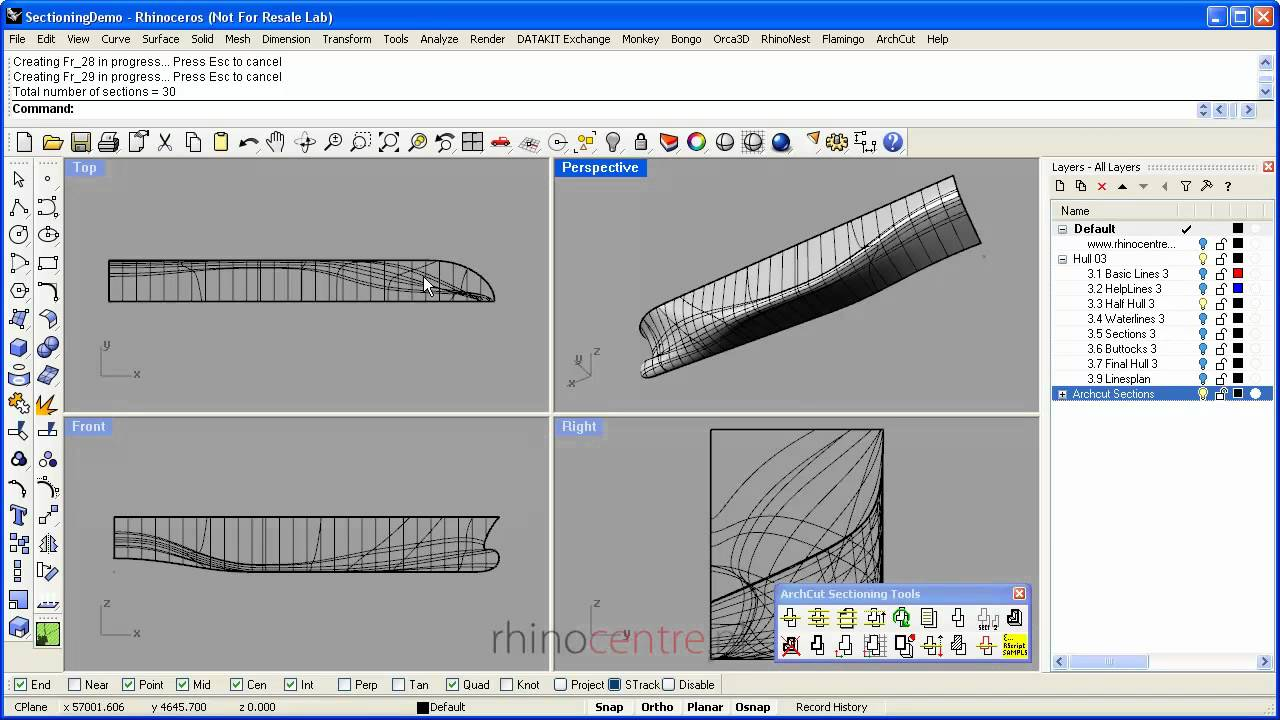 Demo Rhino Sections And Linesplans Youtube