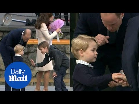 Prince George rejects a high five but accepts handshake