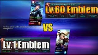 Mobile Legends Lv.60 Physical Emblem Vs Lv.1 Physical Emblem