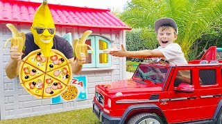 Ali pretend play bought Pizza, funny video for kids