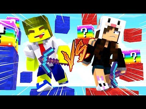 Minecraft: RAZOR Vs COELHA NA CORRIDA DE LUCKY BLOCK