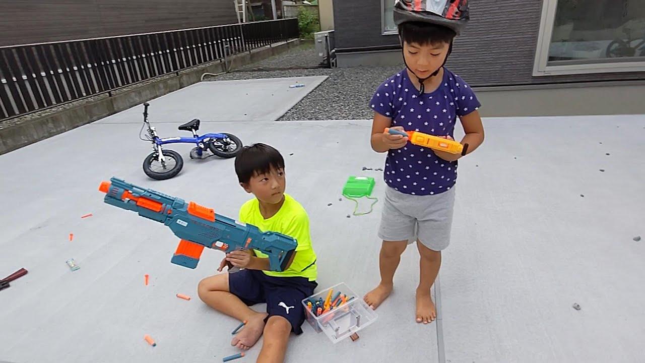 ナーフNERFで射的ゲーム #1254 ひなごんおいちゃんどんちゃん三兄弟vlog