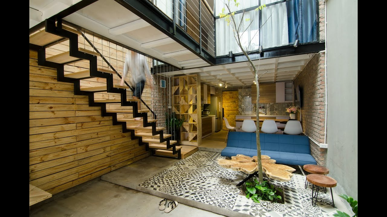 Ideas de peque as y modernas casas youtube for Escaleras de cemento para interiores
