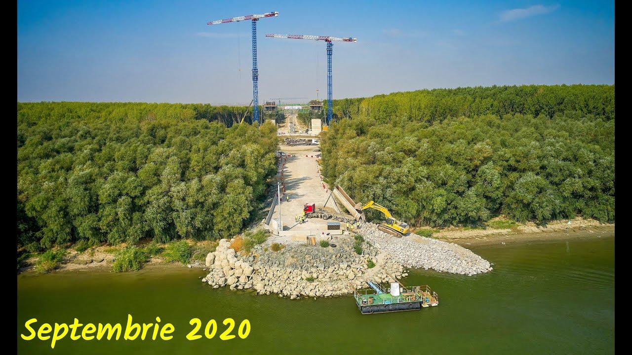 Constructia podului peste Dunare, intre Tulcea si Braila - Septembrie 2020