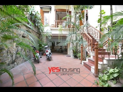 French colonial style villa for lease in Tay Ho with swimming pool