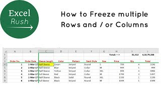 How to Freeze Mulтiple Rows and or Columns in Excel using Freeze Panes