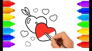 Heart Coloring Page । Draw and Color Heart । Heart Drawing and Coloring Page for Kids