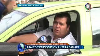 Asalto y persecución ante las cámaras de Teleocho Noticias