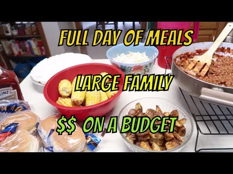 FULL DAY OF BUDGET MEALS #11 WITH RECIPES     LARGE FAMILY OF 9