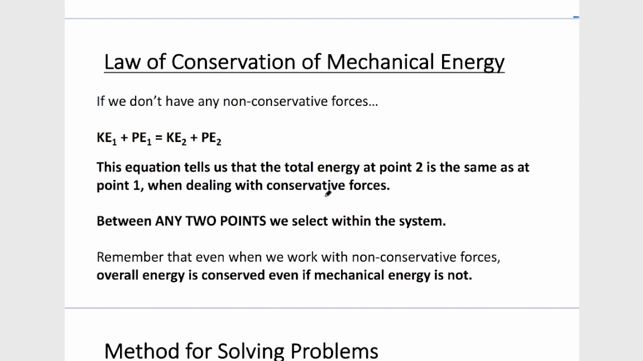 Mechanical energy. The law of conservation of mechanical energy. Application of law 72