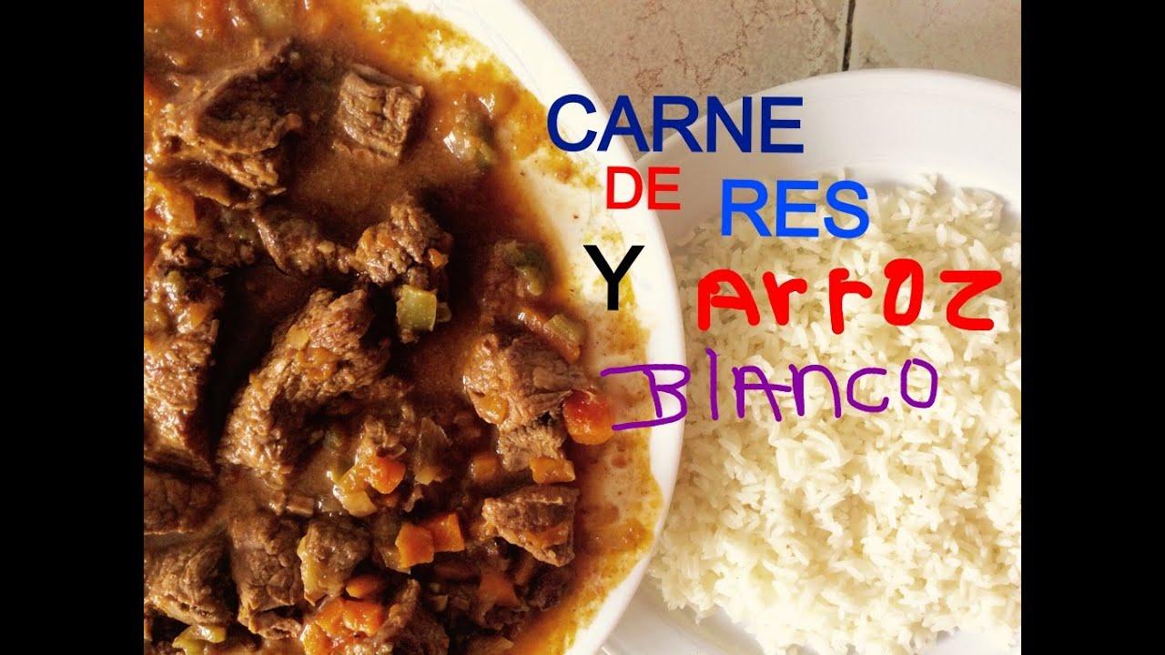 Comida dominicana carne de res guisada con arroz blanco - Comidas con arroz blanco ...