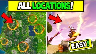 """ALL FLAMING HOOPS LOCATIONS """"Jump through Flaming Hoops with a Shopping Cart or AKT"""" FORTNITE WEEK 4"""