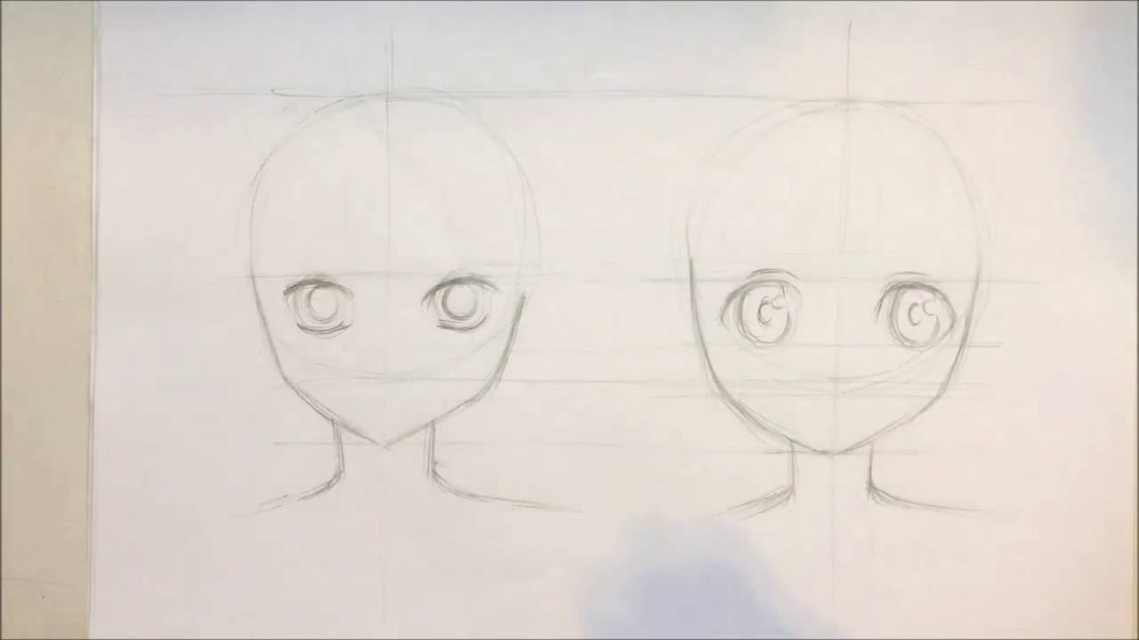 Line Drawing Of Female Face : Anime tutorial differences between males and females face slow
