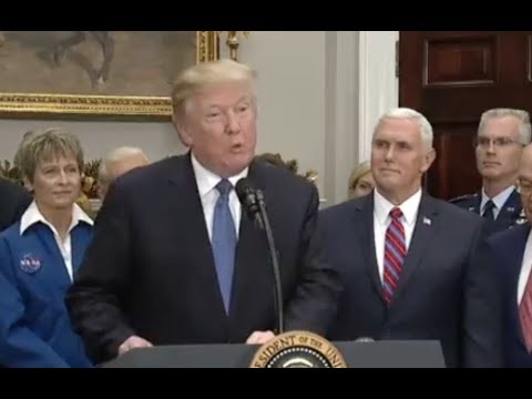 """Trump Directs NASA To Return Humans To Moon- Talks Of """"Military Application"""" - Full Event"""