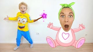 Lev and mom play with a magic wand
